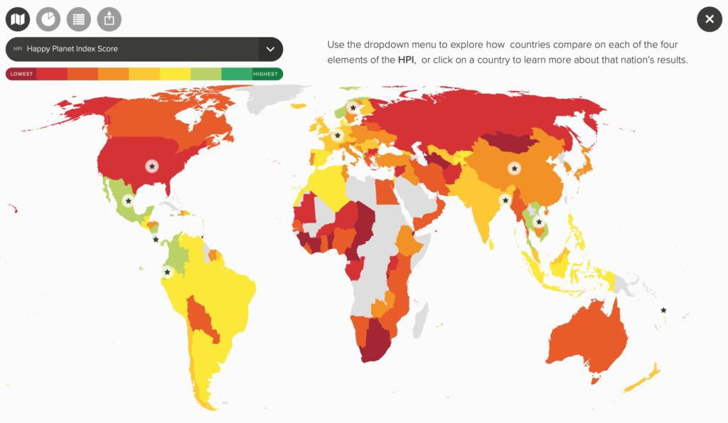 Map of the Happy Planet Index.